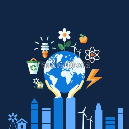 cyfrowy wektor niebieski ekologia ikony z