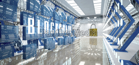 digital room with padlock and word