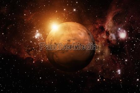 planeta mars mglawica na tle