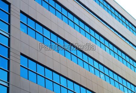 office building blue windows angle concrete