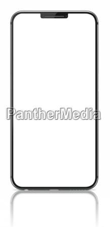 smartfon z pustym ekranem na bialo