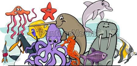 zwierzeta zwierzatka ryba ilustracja morskich morska