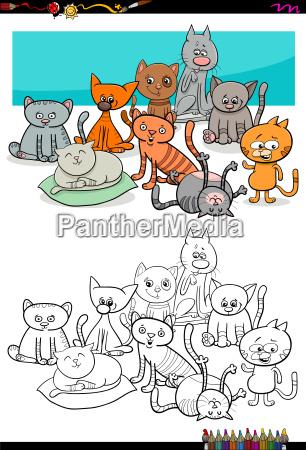 Koty Znaków Grupy Kolorowanki Stockphoto 23027439 Agencja