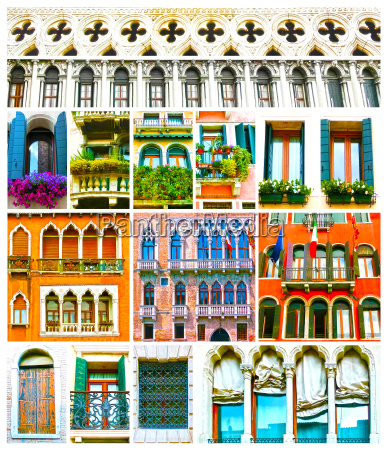 colorful collage made of windows from