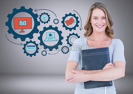 kobieta z rysunkami graficznymi edukacyjnymi