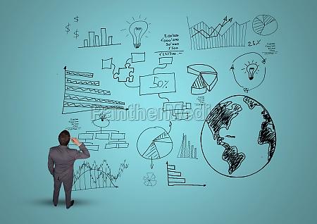 cyfrowy kompozytowy wizerunek przemyslanego biznesmena z