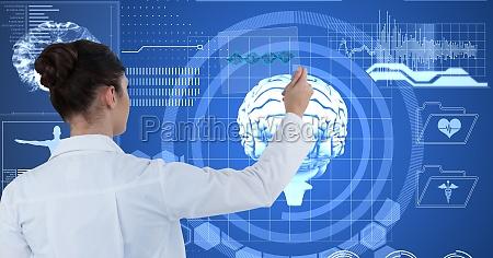 cyfrowo wygenerowany obraz kobiecego lekarza dotykajac