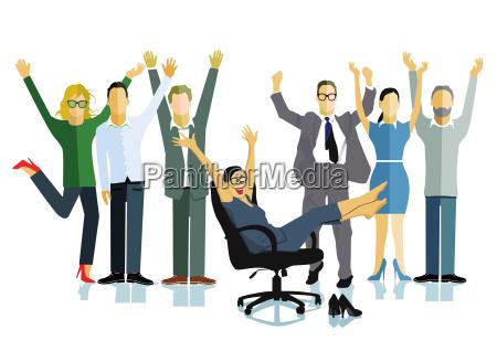 ludzie biznesu swietuja zwyciestwobiznesowy sukcesilustracja