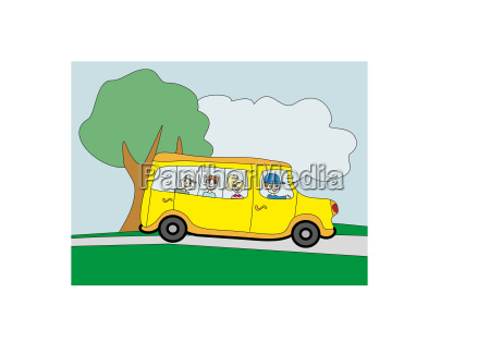 illustration of a school bus heading