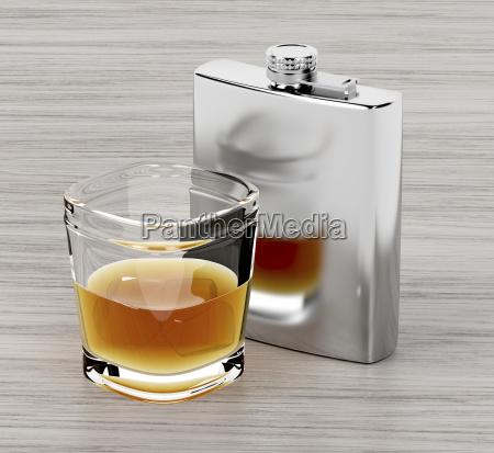 piersiówka, i, kieliszek, brandy - 23452495