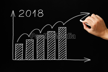 growth graph year 2018 blackboard concept