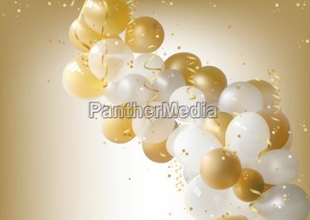 biale i zlote balony tlo strony