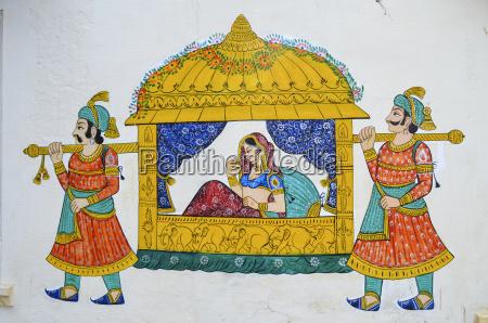 mural maharani prowadzone przez nosicieli w