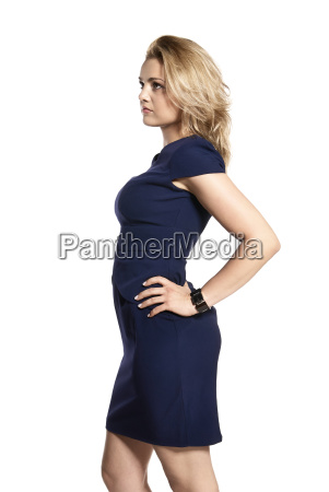 attractive woman in navy blue dress