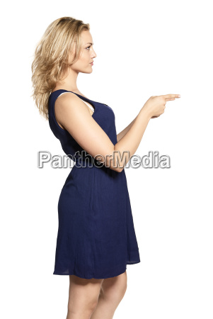 young blonde woman points at copy