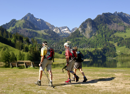 departure for the mountain hike alps