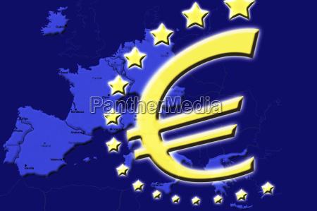 euro symbol over europe