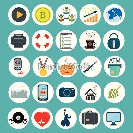 zestaw ikon rozwoju sieci i technologii
