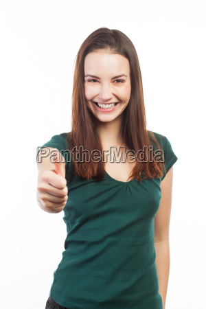 cheerful woman with thumb up