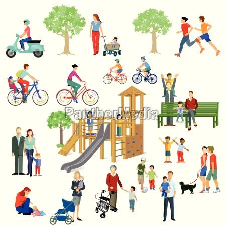 rodziny i ludzie graja w parku