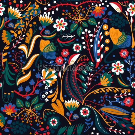 kwiatowy wzor bez szwu recznie rysowane
