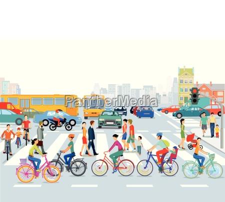 miasto ruchu rowerzystow i pieszych ilustracje