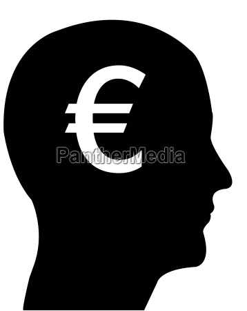 head in profile with euro sign