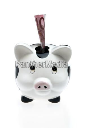 piggy bank money box with ten