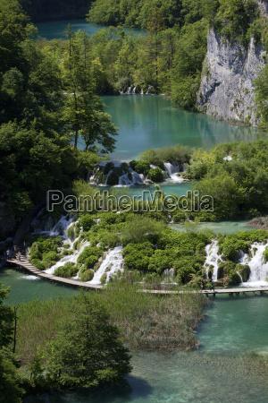 jezioro z drewnianym chodnikiem park narodowy