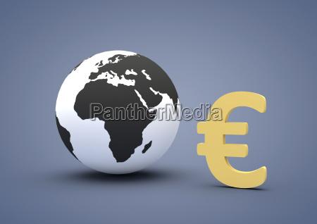 world globe shows euro sign euro