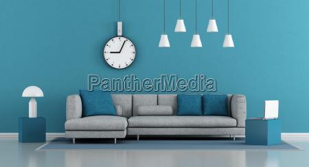 niebieski minimalistyczny salon