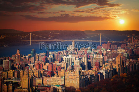 sunset in manhattan new york