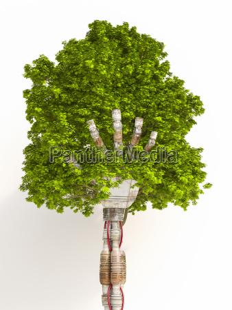 robot reka holding tree renderowanie 3d