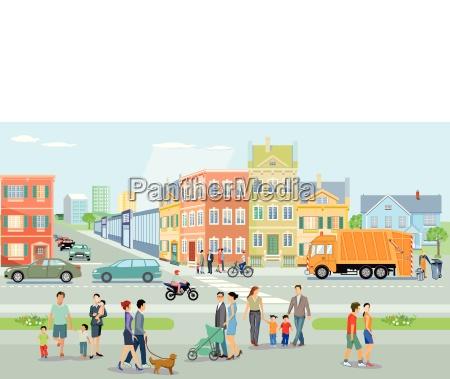 miasto z pieszymi i ruchami ilustracja