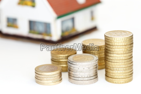 money coins with house