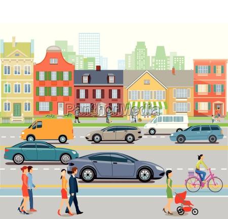 miasto z samochodowym ruchem drogowym i