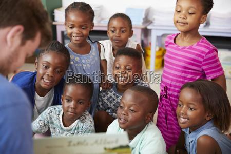 nauczyciel czytania ksiazki do szkoly podstawowej