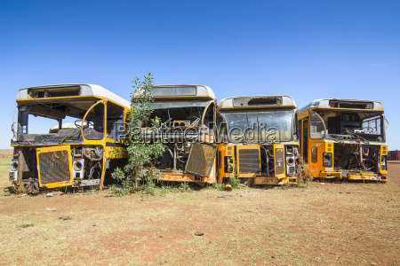 old buses at the italian tank