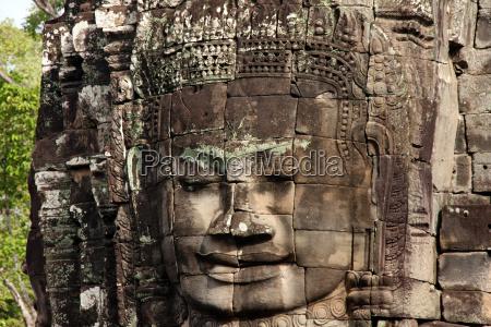 bayon temple face towers detail angkor