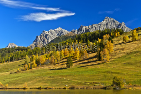 landscape in autumn in the engadine
