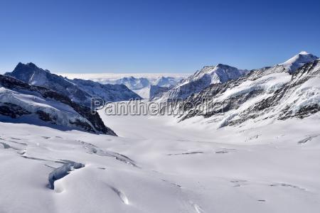 aletsch glacier view from jungfraujoch switzerland