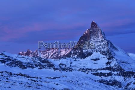 matterhorn in blue hour valais alps