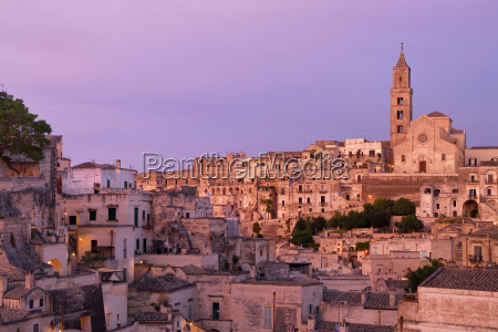 medieval old town with cathedral evening