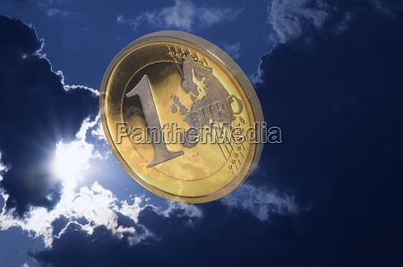 euro against dark clouds symbolism euro