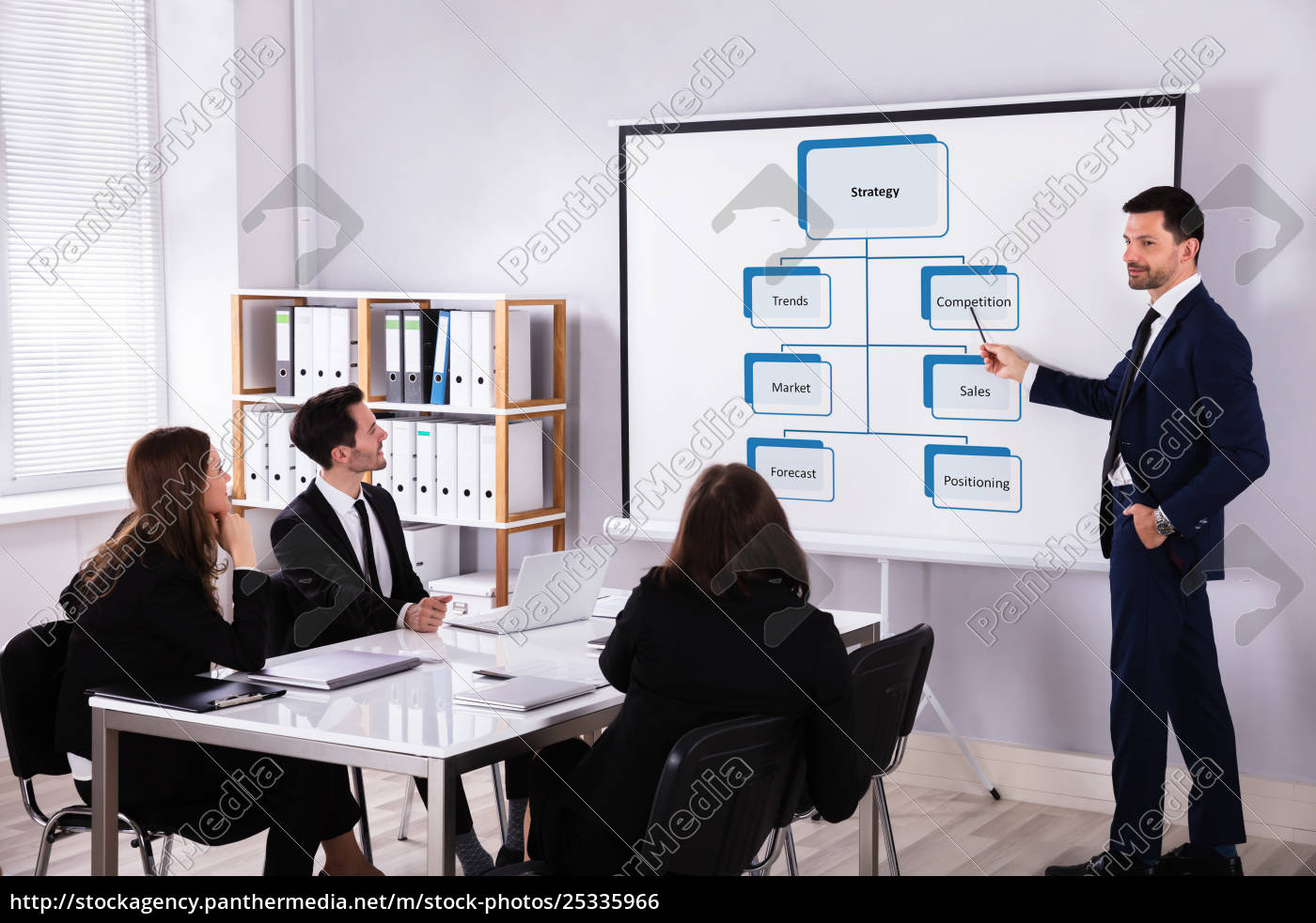 businessman, giving, presentation, on, new, sales - 25335966