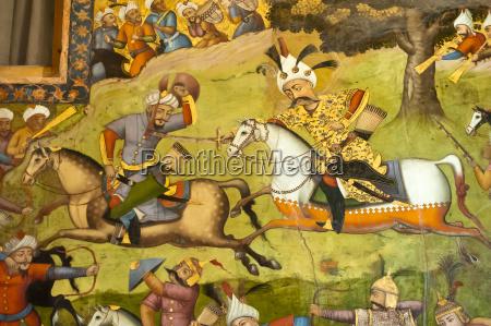 fresco shah ismail on white horse