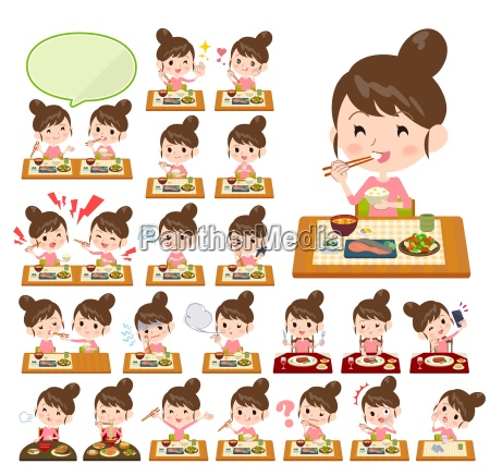 a set of women about mealsjapanese