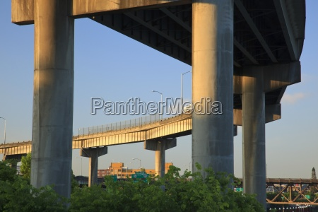 concrete supports of a bridge along