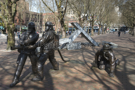 statues of firefighters in occidental park