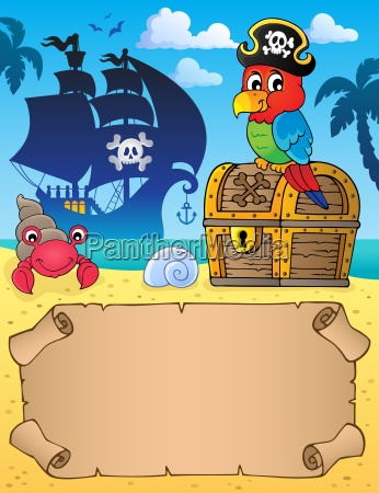 small parchment with pirate parrot